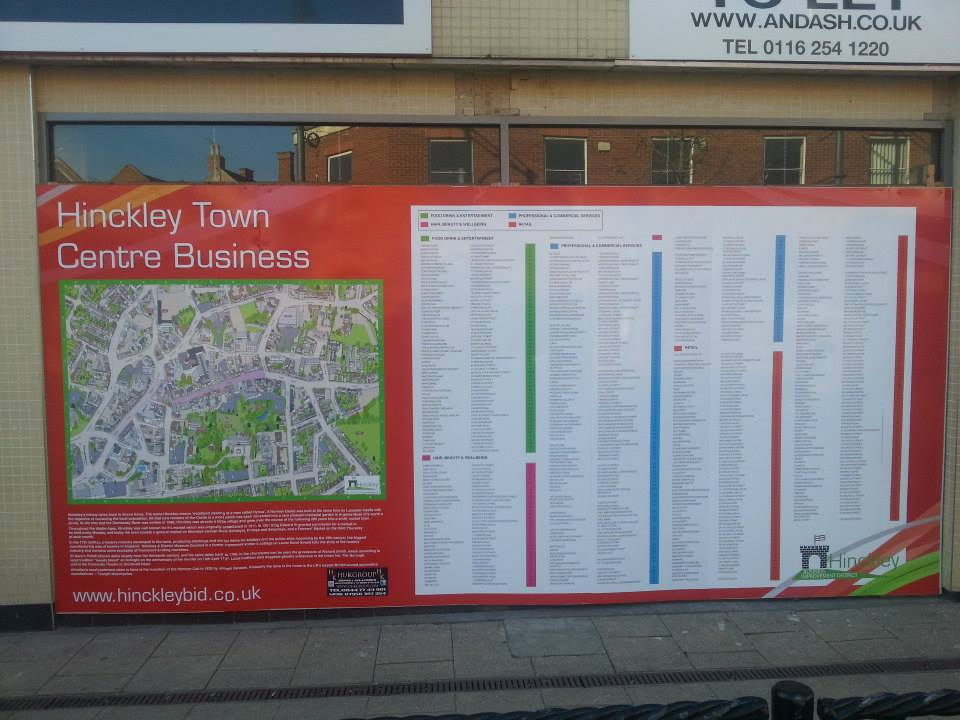 Hinckley Town Centre Map sign