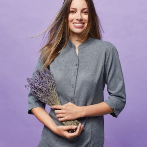 Verbena 'linen look' button-up beauty tunic