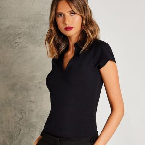 Women's corporate short-sleeved top v-neck mandarin collar