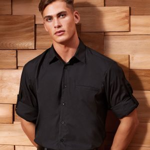 Roll sleeve poplin shirt