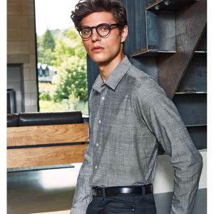 Cotton slub chambray long sleeve shirt