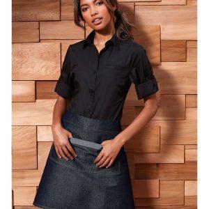 Women's roll sleeve poplin blouse