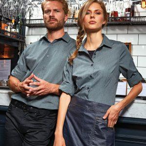 Women's poplin cross-dye roll sleeve shirt