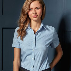 Women's Microcheck (Gingham) short sleeve cotton shirt