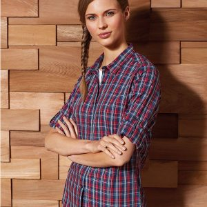 Women's Sidehill check cotton long sleeve shirt